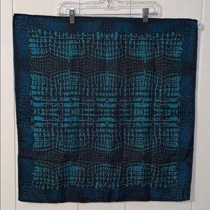 Vtg 60s blue & black  silk Italian scarf